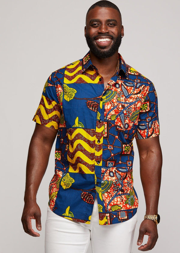 Men's Tops - Keyon Button-Up African Print Shirt (Blue Yellow Multistripe)