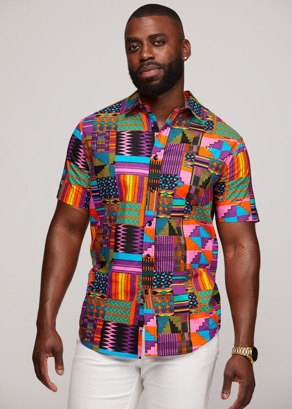 Men's Tops - Keyon Button-Up African Print Shirt (Purple Pink Kente)