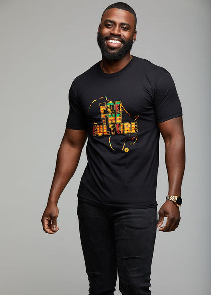 "Men's Tops - Khai Men's Kente ""For The Culture"" Graphic T-shirt (Black)"