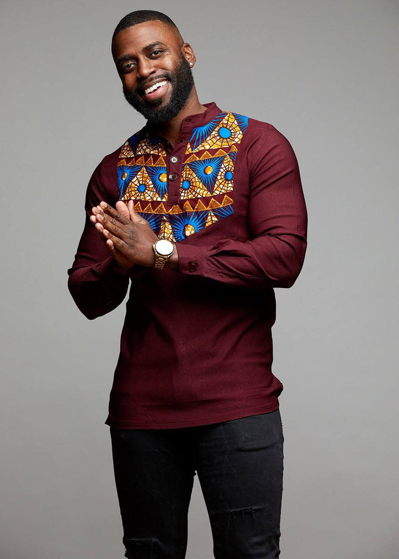 Men's Tops - Meka African Print Collared Henley (Blue Pyramids)