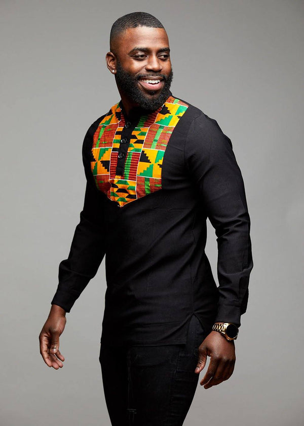 Men's Tops - Meka Men's African Print Collared Henley (Yellow/Green Kente)