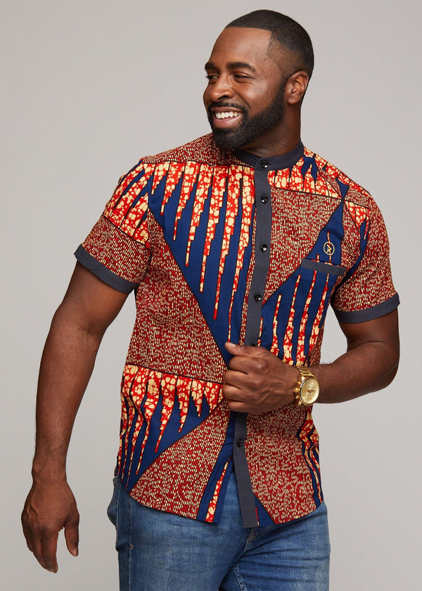 Men's Tops - Olu Short Sleeve Mandarin Button-Up African Print Shirt (Orange Navy)