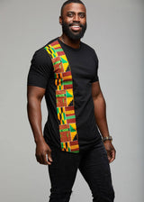 Men's Tops - Sadik African Print Short Sleeve T-shirt (Yellow Green Kente)