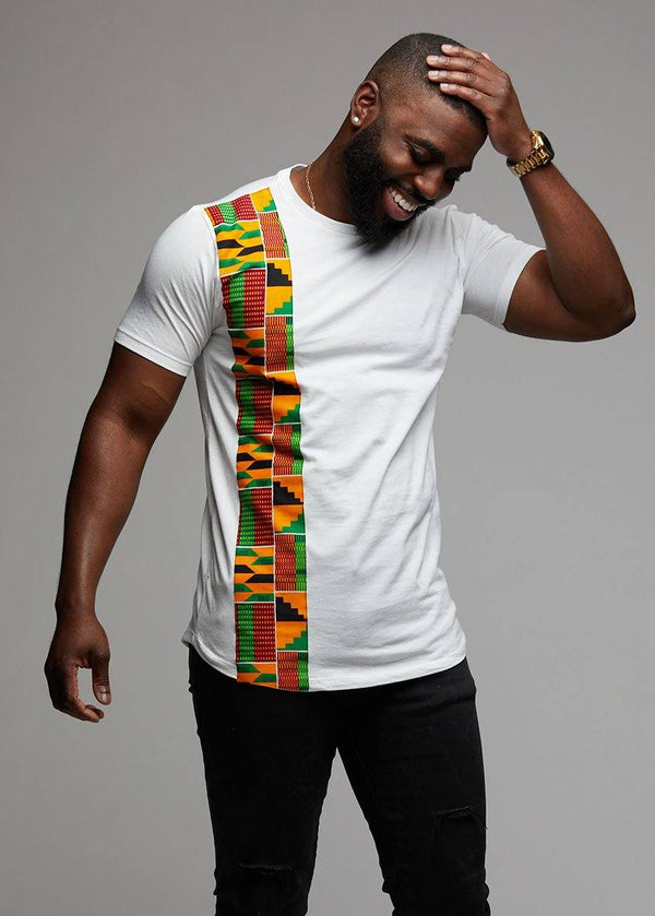 Men's Tops - Sadik African Print Short Sleeve Tee (Yellow Green Kente On White))