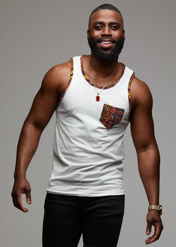 Men's Tops - Sefu Men's African Print Tank Top (Orange Tortoise Back)