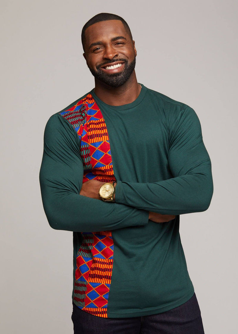 Men's Tops - Simba African Print Long Sleeve T-shirt (Forest Green)