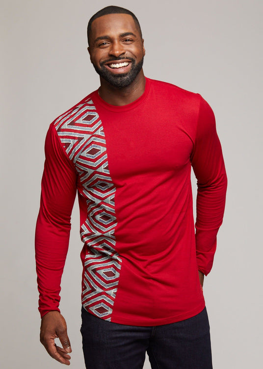 Coolred-Men V Neck African Ethnic Style Mid Long Long-Sleeve Top Shirt