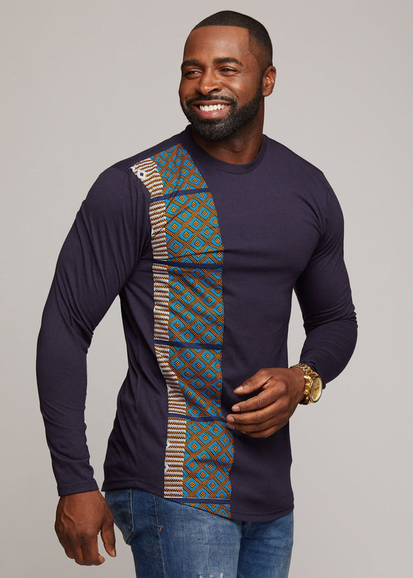 Men's Tops - Simba African Print Long Sleeve T-shirt (Navy)