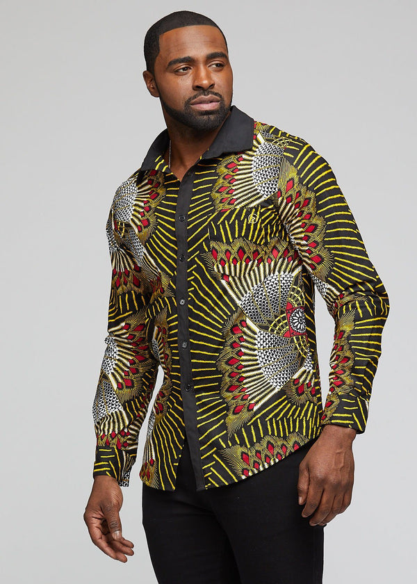 Men's Tops - Wazi African Print Men's Button-Up (Yellow Red Fans)