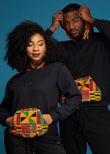 Men's Tops - Zane Unisex African Print Hooded Sweatshirt (Red/Green/Yellow Kente)