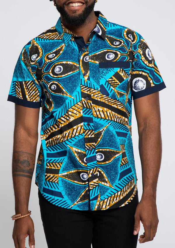 Deion African Print Short Sleeve Button-Up Shirt (Sky Blue Black Flowers)