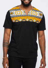 Idi African Print Applique T-shirt (Black/Gold White Mudcloth)