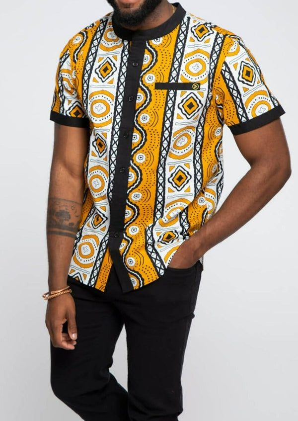 Olu African Print Button-Up Mandarin Collar Shirt (Gold White Mudcloth)