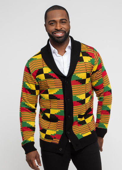 Aren African Print Button-Up Cardigan Sweater ( Yellow Red Kente) - Clearance