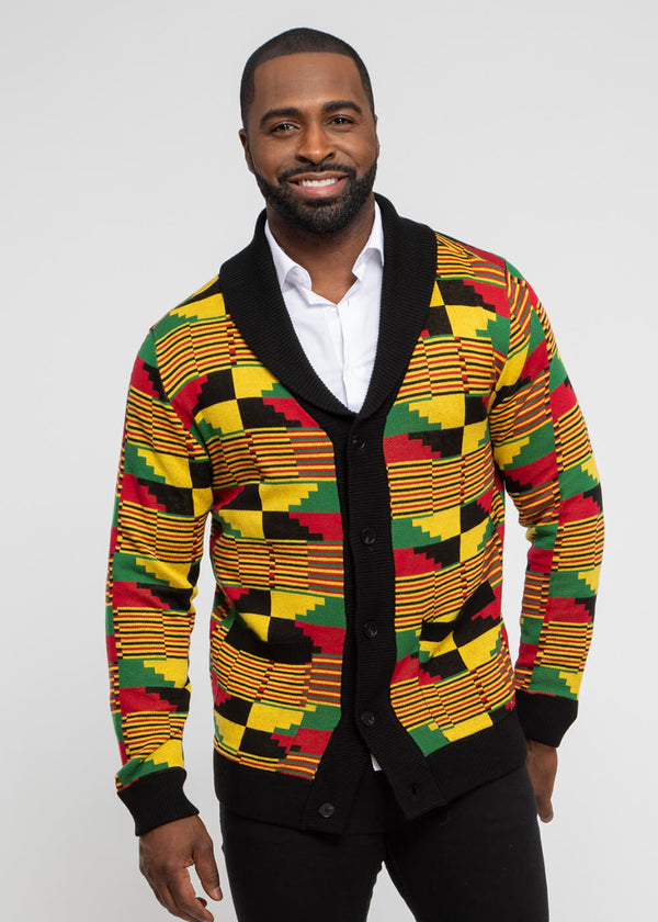 Aren African Print Button-Up Cardigan Sweater ( Yellow Red Kente)