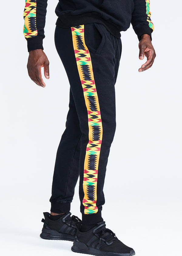 Oloyo African Print Men's Color Blocked Jogger (Black/Gold Maroon Kente) - Clearance