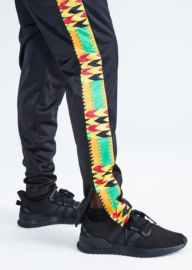 Lagbara African Print Color Blocked Men's Track Pants (Black/Gold Maroon Kente)- Clearance