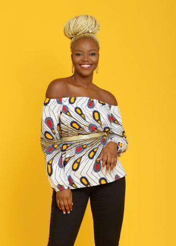 Mia African Print Long Sleeve Off The Shoulder Top (White Peacock Feather)