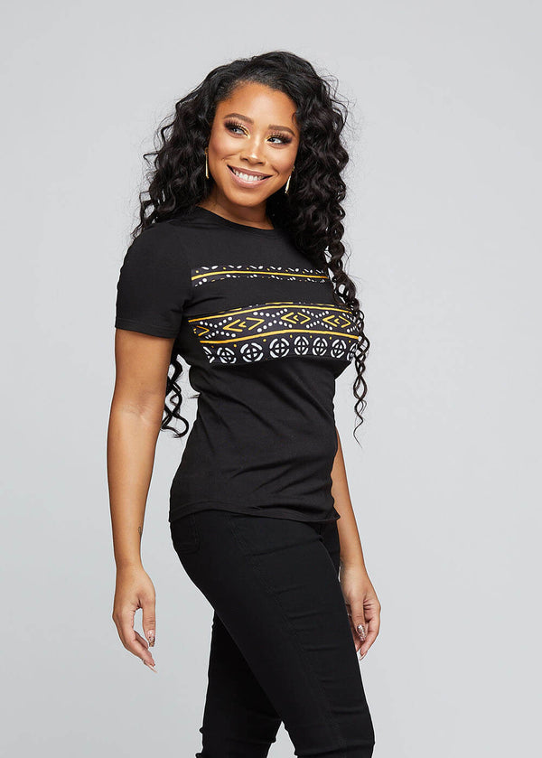 Nea African Print Color-Blocked Tee (Black/ Black Gold Mudcloth)