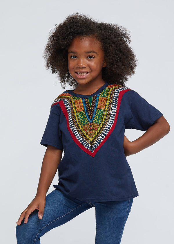 Kid's African Print Dashiki T-Shirt (Navy)