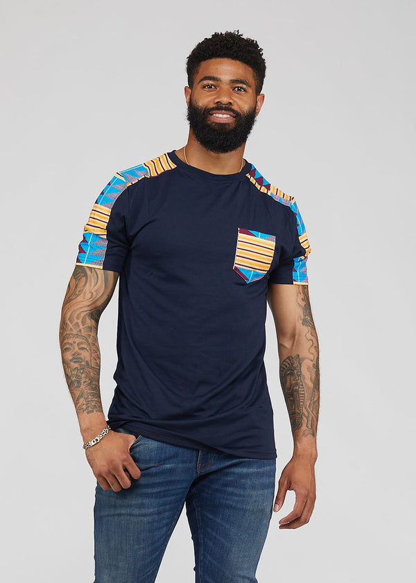 Ebanu Men's African Print Color Block T-shirt (Navy/Tan Blue Kente) - Clearance