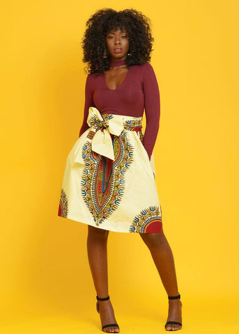 Naya African Print Dashiki Midi Skirt With Sash (cream/maroon)