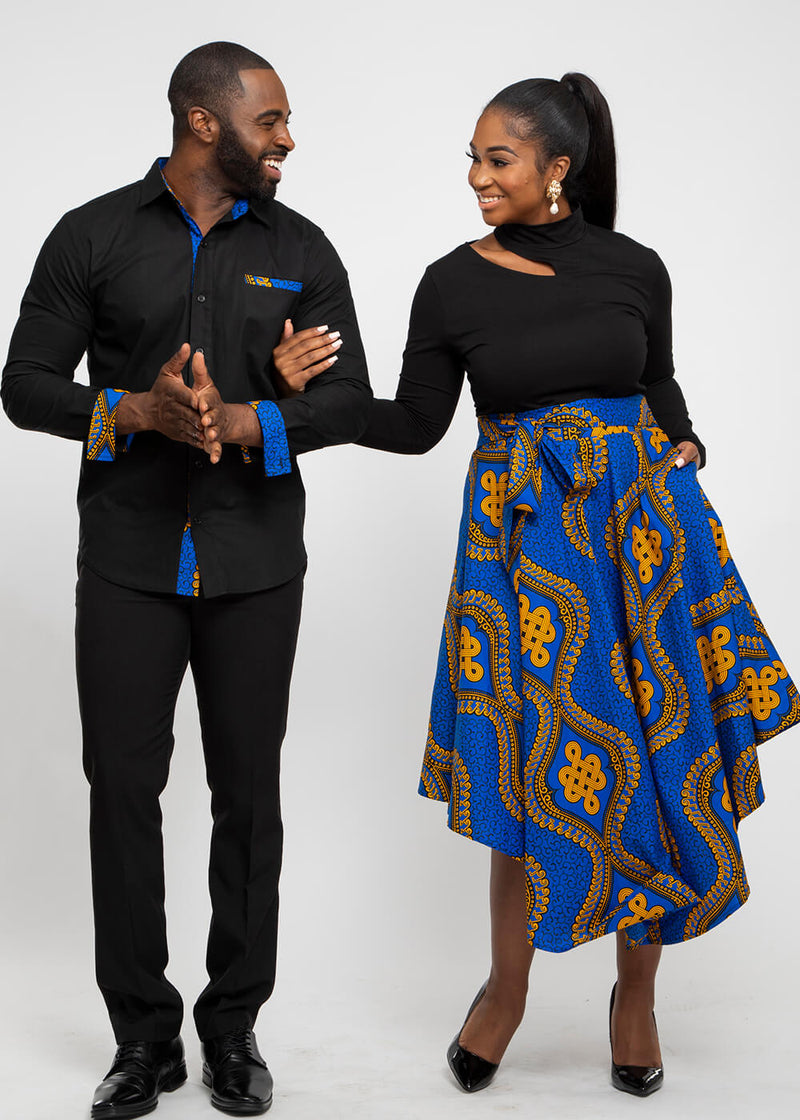Obasi African Print Long Sleeve Button-Up (Black/Gold Blue Motif)
