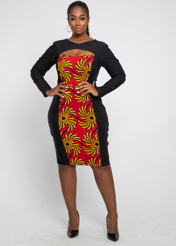 Olufe African Print Color-Block Sweetheart Dress Red Yellow Swirls