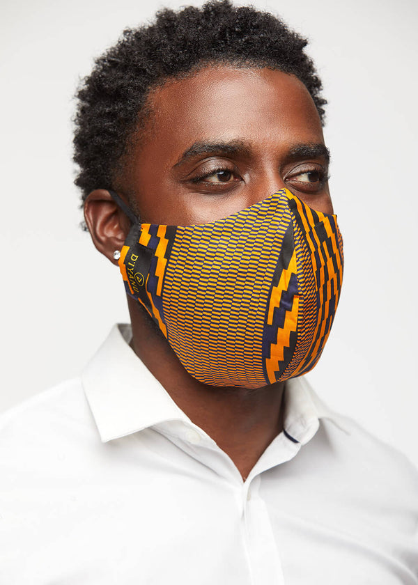 Dabo African Print 2 Layer Reusable Face Mask (Orange Navy Diamonds)