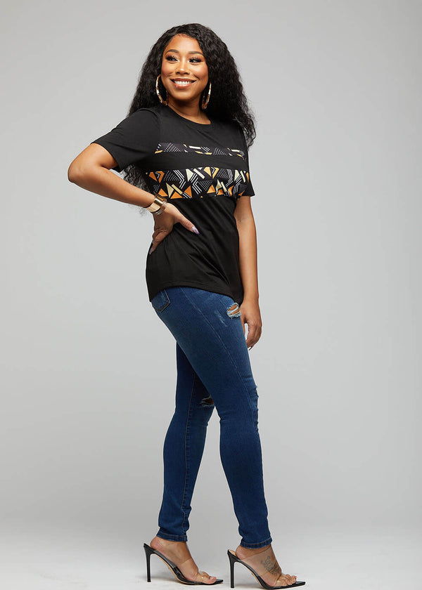 Nea African Print Color-Blocked Tee (Black/ Orange Cream Geometric)