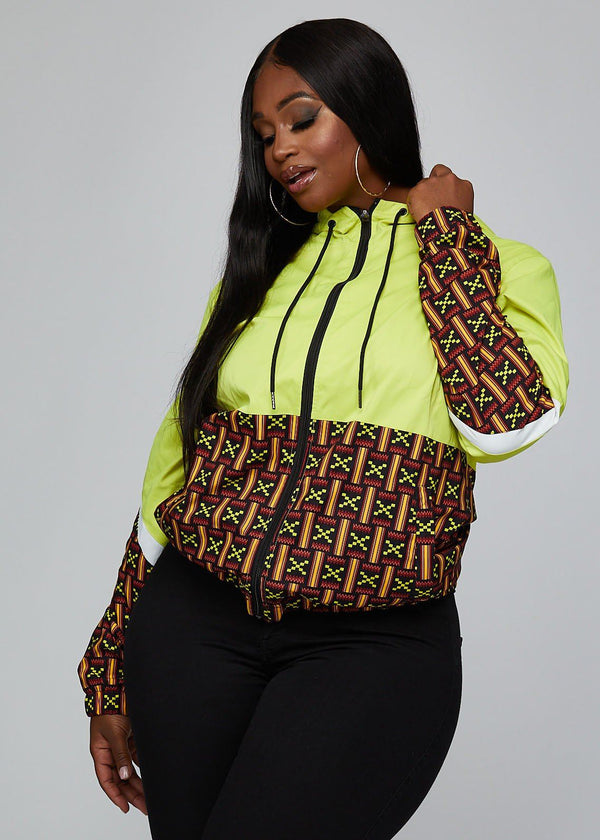 Outerwear - Ekene African Print Color Blocked Unisex Windbreaker (Black Neon Kente)