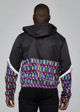 Outerwear - Ekene African Print Color Blocked Windbreaker (Blue Yellow Geometric)