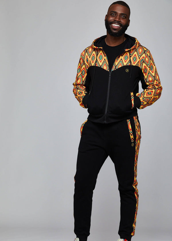Outerwear - Jelani Men's African Print Color Blocked Hoodie (Orange Yellow Kente)