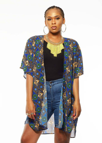 Outerwear - Kara African Print Chiffon Kimono (Blue/Green Diamonds)- Clearance