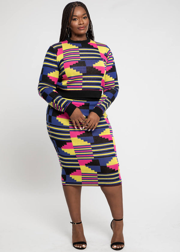 Yasiko African Print Knit Skirt (Pink Yellow Kente) - Clearance