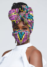 African Print Head Wrap/Scarf (Purple Turquoise Kente)