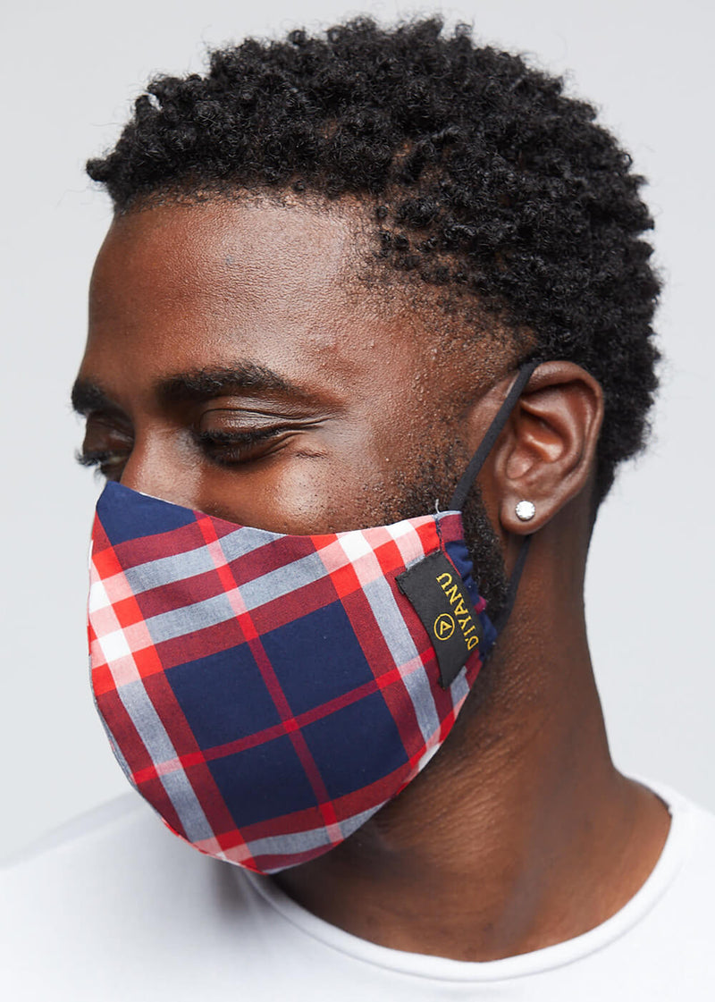 Dabo 2 Layer Reusable Face Mask (Navy Red Plaid)