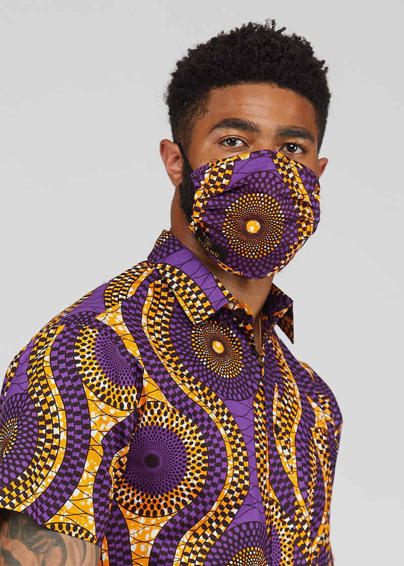 Uzo African Print 2 Layer Reusable Face Mask (Gold Purple Circles)