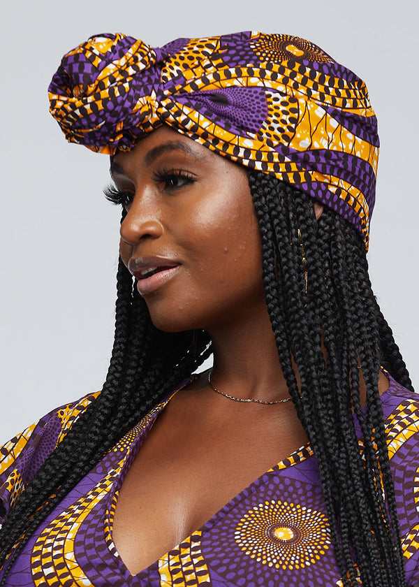 African Print Head Wrap/Scarf (Gold Purple Circles)