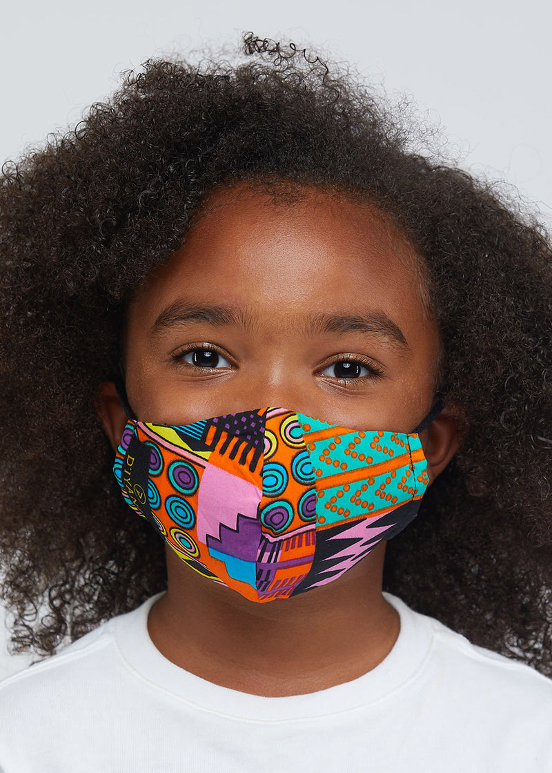 Dabo African Print 2 Layer Reusable Face Mask (Pink Purple Kente)
