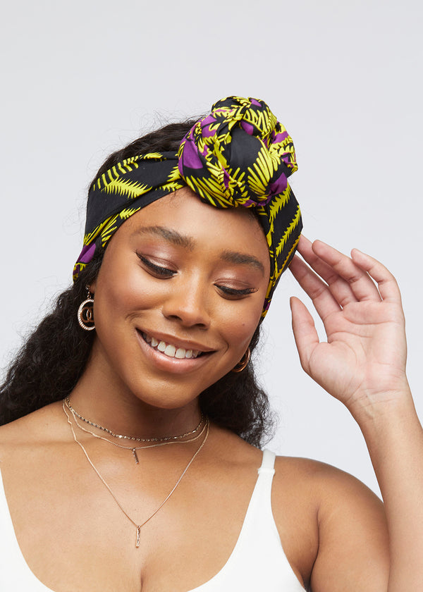 African Print Head Wrap/Scarf (Purple Yellow Fans)