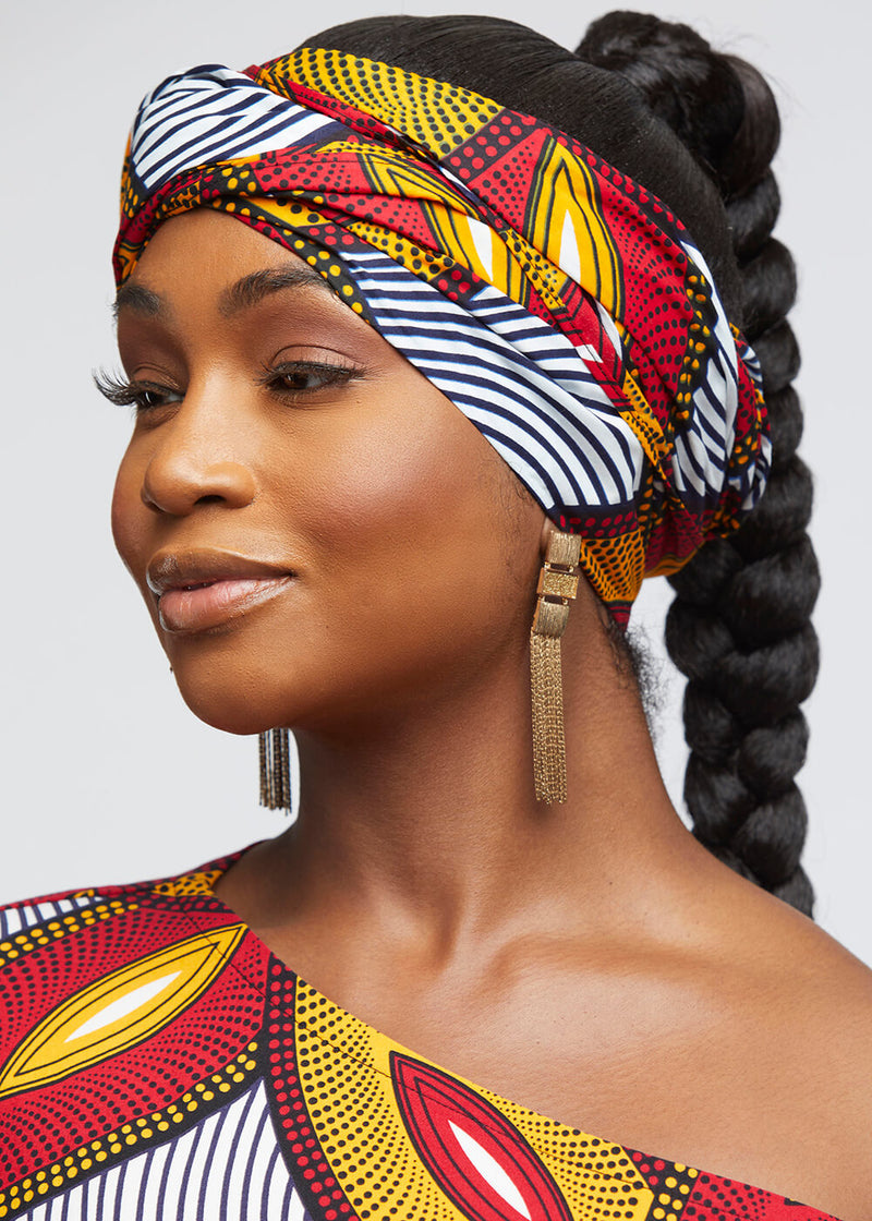 African Print Head Wrap/Scarf (Red Gold Leaves)