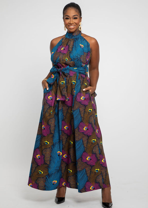 Ronke African Print Halter Maxi Dress (Blue Pink Peacock)