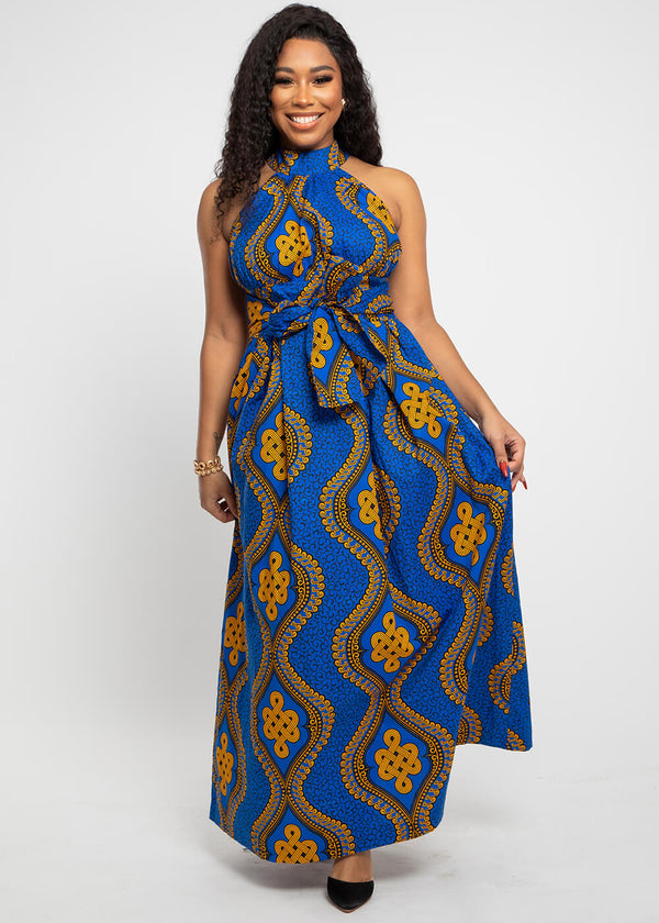 Ronke African Print Halter Maxi Dress (Gold Blue Motif)