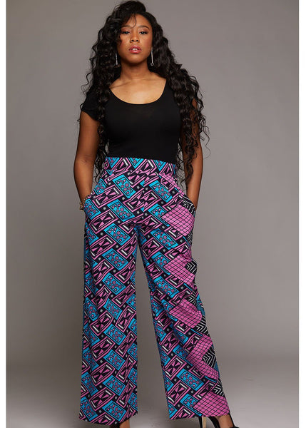 Sabah African Print High Waist Wide Leg Pants (Blue/Pink Rectangles)
