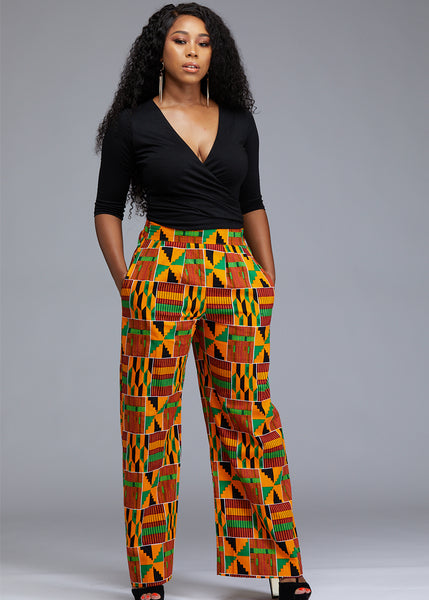 Sabah African Print High Waist Wide Leg Pants (Yellow Green Kente)