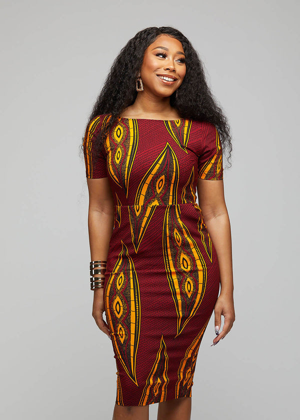 Sabella African Print Midi Dress (Red Yellow Leaves)