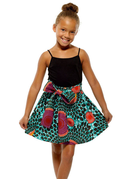 Skirts - Abina African Print Full Skirt For Little Girls (Aqua Circles)
