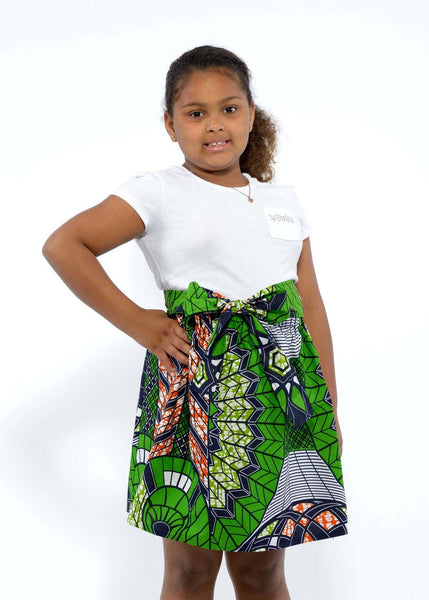 Skirts - Abina African Print Full Skirt For Little Girls (Green/Navy)