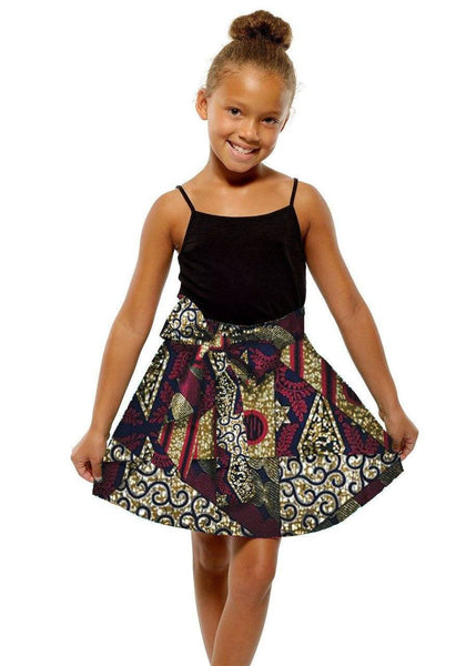 Skirts - Abina African Print Full Skirt For Little Girls (Maroon Multipattern)